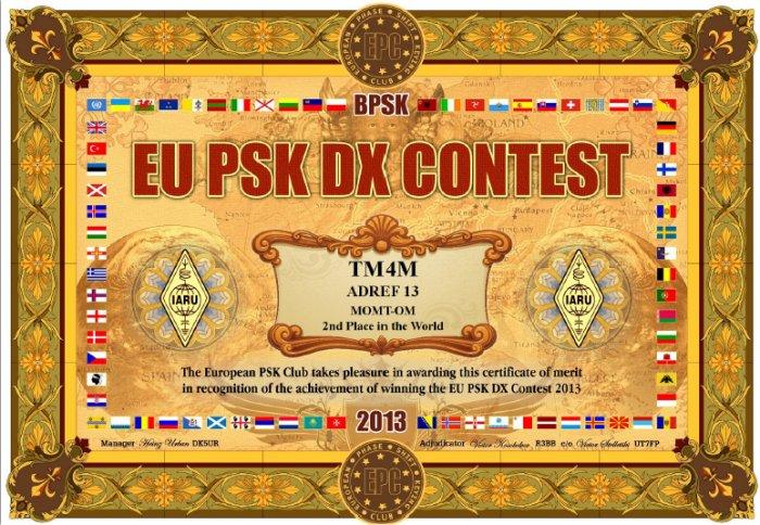 Résultat de TM4M au EU PSK DX CONTEST 2013 dans concours monde